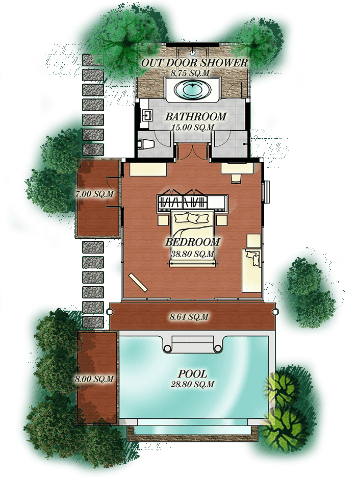 Pool Villa Beachfront Seaview plan