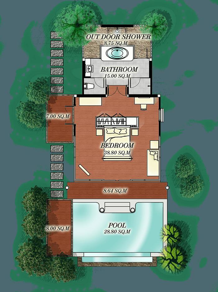 Pool Villa Beachside plan